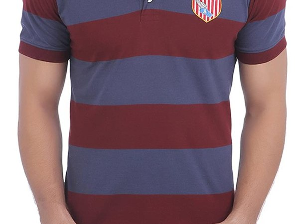 American Crew Men's Polo Stripes With Badge T-Shirt (Navy Blue & Burgundy)