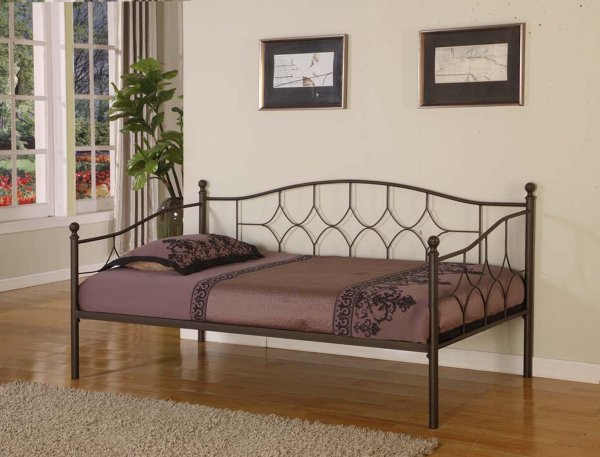 Pewter Finish Metal Twin Size Day Bed Daybed Frame With