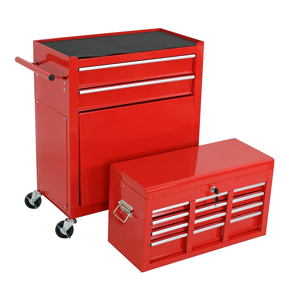 F2C Solid Steel 24 Inch Portable Tool Chest Box Storage Garage Toolbox 6 Drawers Top Chest