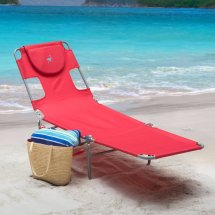 Reclining Beach Sun Lounger Portable Chaise Folding
