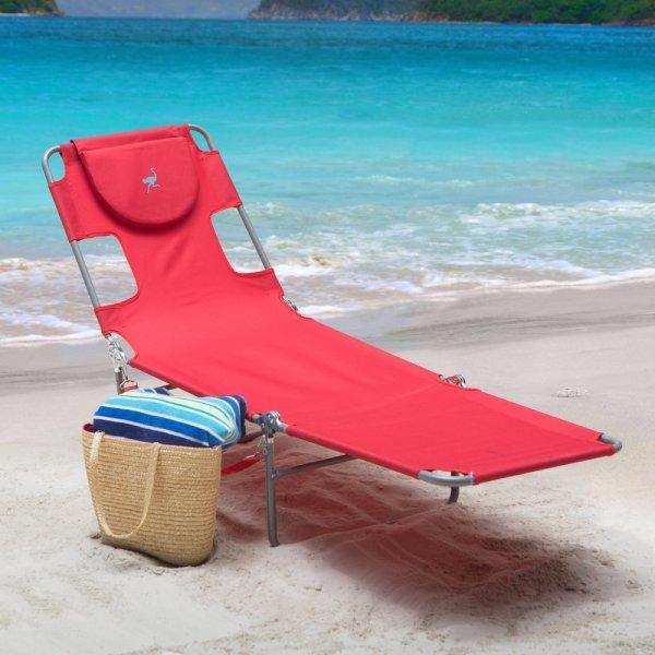 Reclining Beach Sun Lounger Portable Chaise Folding Lounge Garden Chair Red