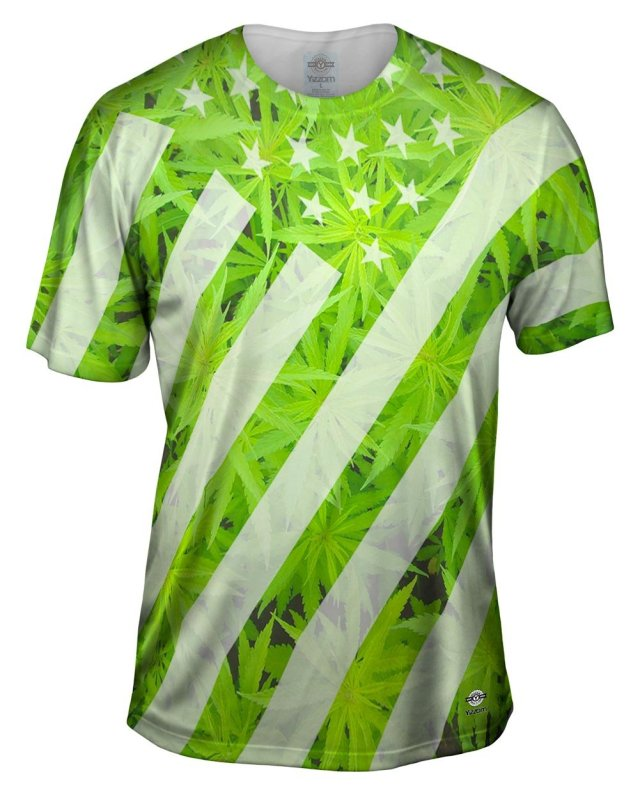 Yizzam- Marijuana Flag Usa -TShirt- Mens Shirt