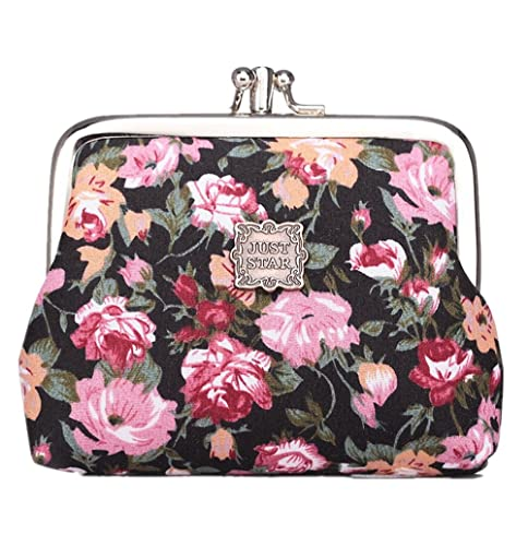 Cute Classic Floral Exquisite Buckle Coin Purse Black