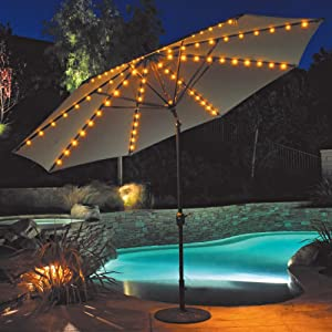 Auto Tilt Patio Umbrella With LED Umbrella Lights
