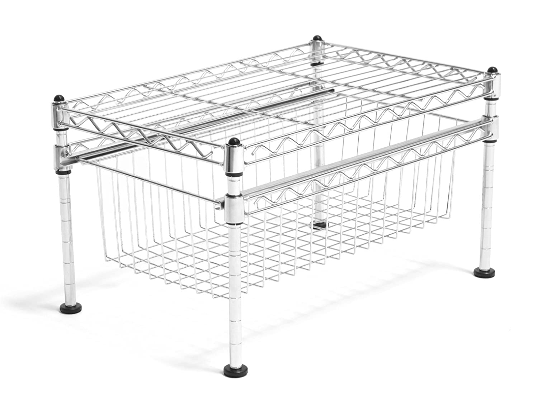 New Kitchen Laundry Single Basket Chrome Organizer Home