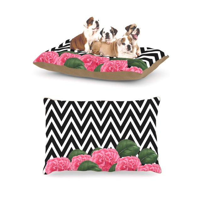 "Suzanne Carter ""Camellia"" Chevron Flower Fleece Dog Bed, 30 by 40-Inch"