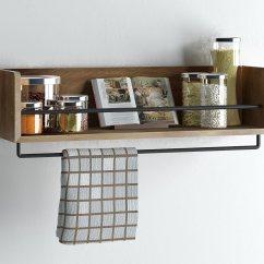 Kitchen Wall Shelf Pot Hangers Set Of 2 Rustic Wood With Metal Rail