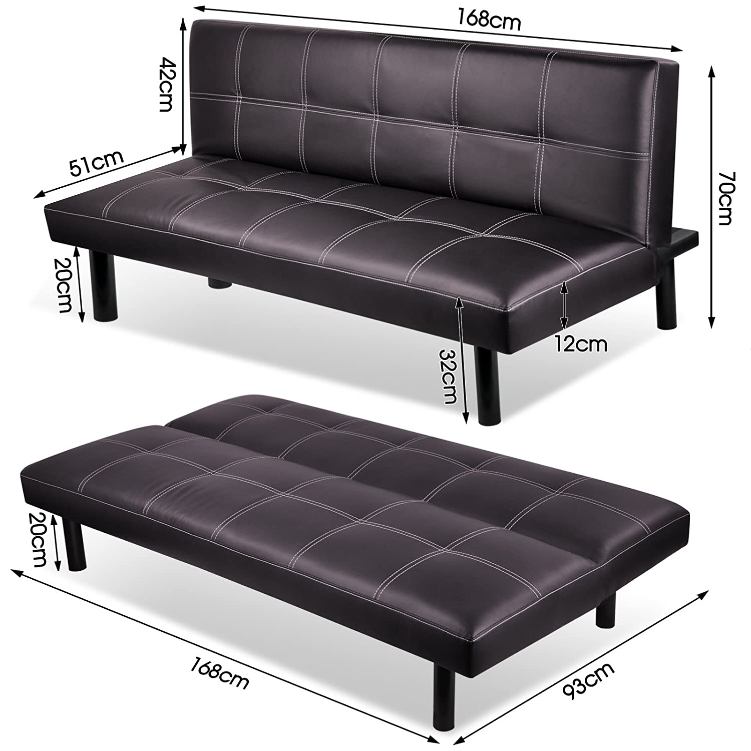 fold down sofa sleeper how to make cushions covers 3 seater modern pu leather bed living room