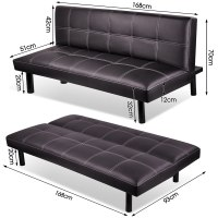 3 Seater Modern Pu Leather Sofa Bed Fold Down Living Room ...