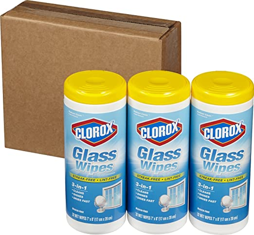 Clorox Glass Wipes, Radiant Clean, 32 Count, (Pack of 3)