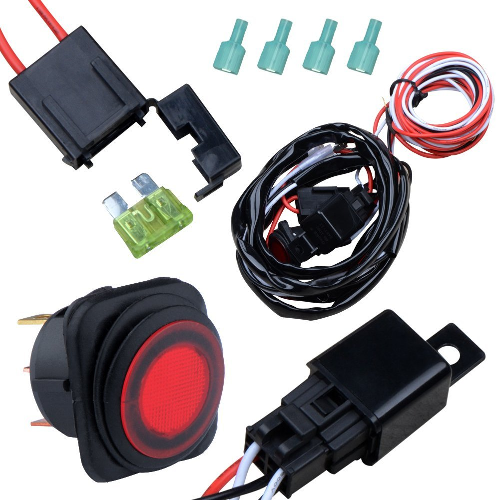 hight resolution of nilight off road atv jeep led light bar wiring harness kit 40 amp relay on off switch