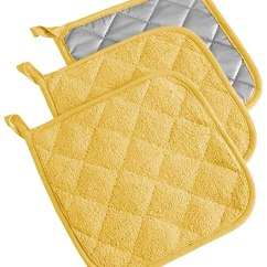 Kitchen Hot Pads Moving Island Dii Cotton Terry Pot Holders 7x7 Set Of 3 Heat Resistant And Machine Washable For