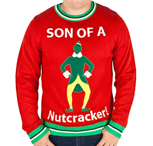 Men's Elf the Movie 'Son of a Nutcracker' Sweater (Red) - Ugly Holiday Sweater (Small)