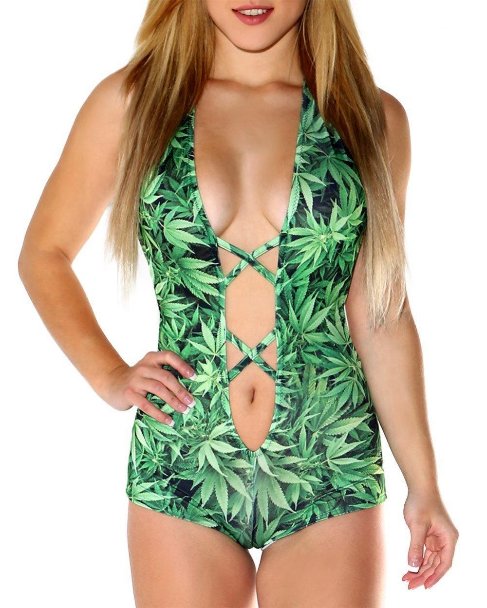 iHeartRaves Ganja Weed Leaf X Cross Romper Rave Bodysuit