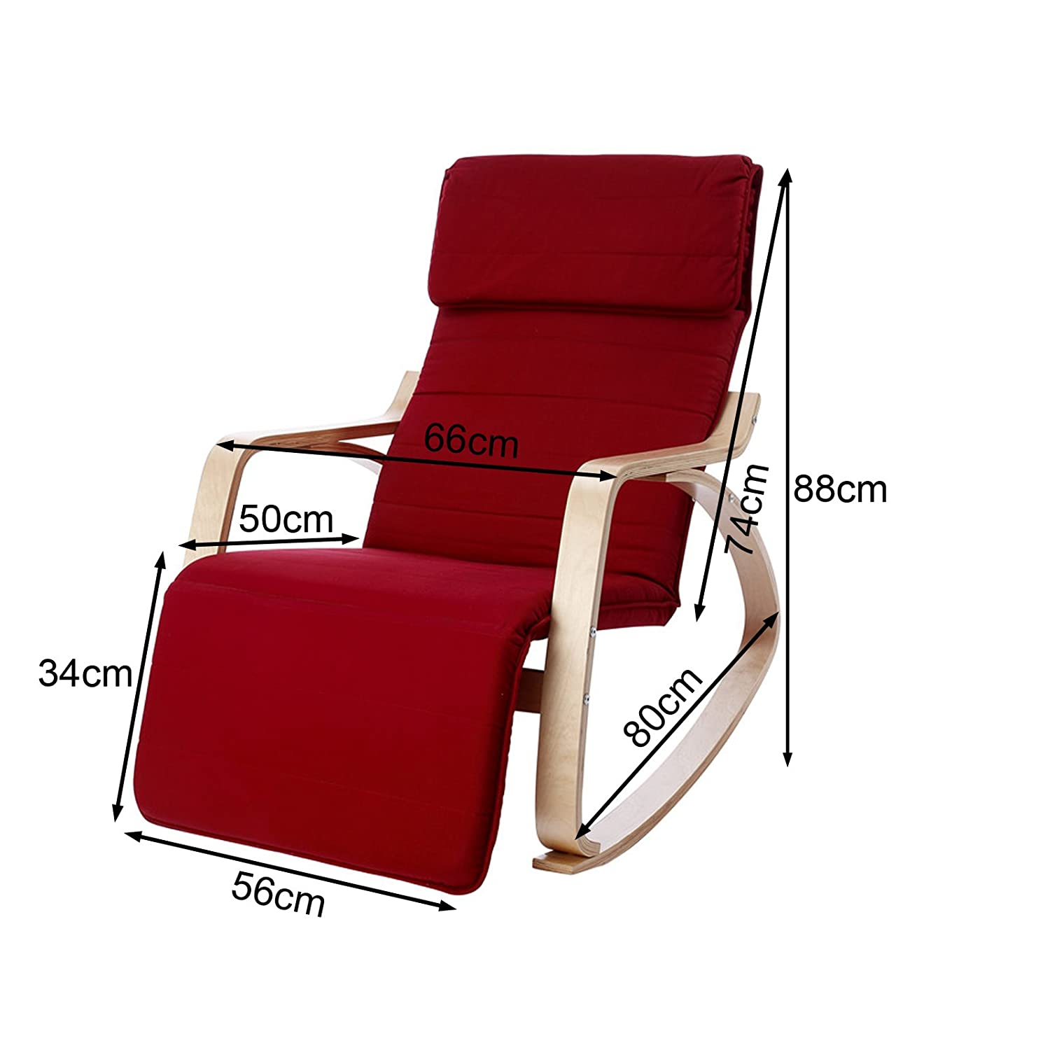 rocking chair footrest spandex covers amazon sobuy relaxing lounge with adjustable
