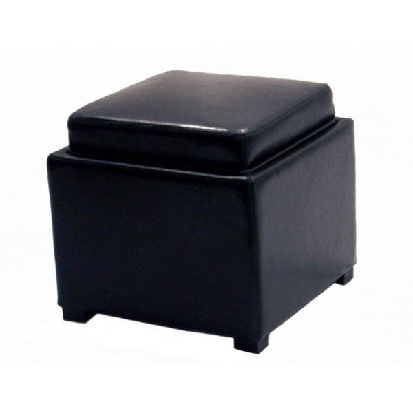 Square Storage Ottoman with Tray