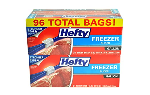 Hefty Slider Freezer Bags, Gallon, 96 Count