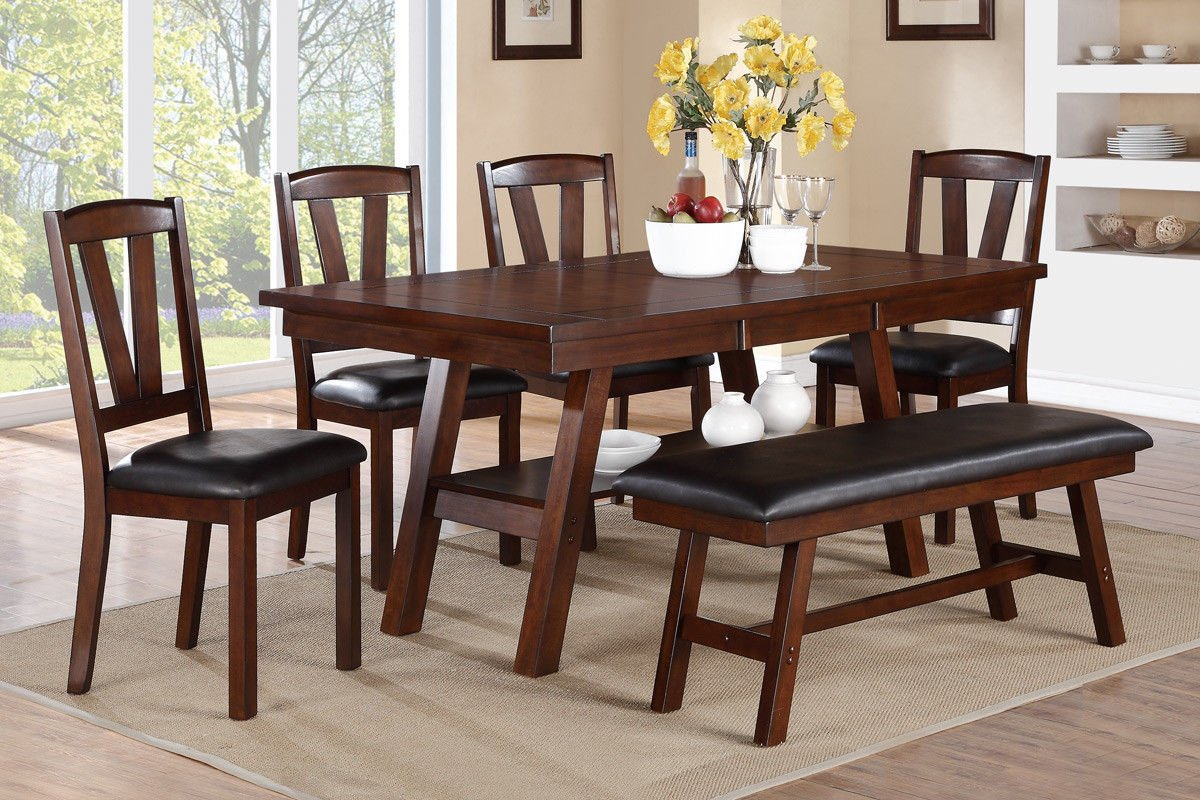dark walnut dining chairs real leather tub chair brown poundex f2271 and f1331 f1332 table