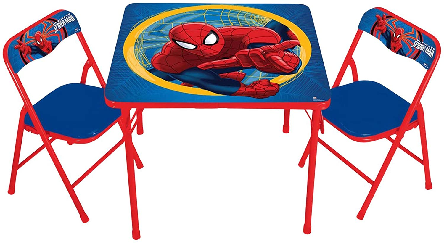 activity table and chair set curved corner kids marvel spiderman
