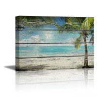 Canvas Prints- Tropical Beach with Palm Tree on Vintage ...