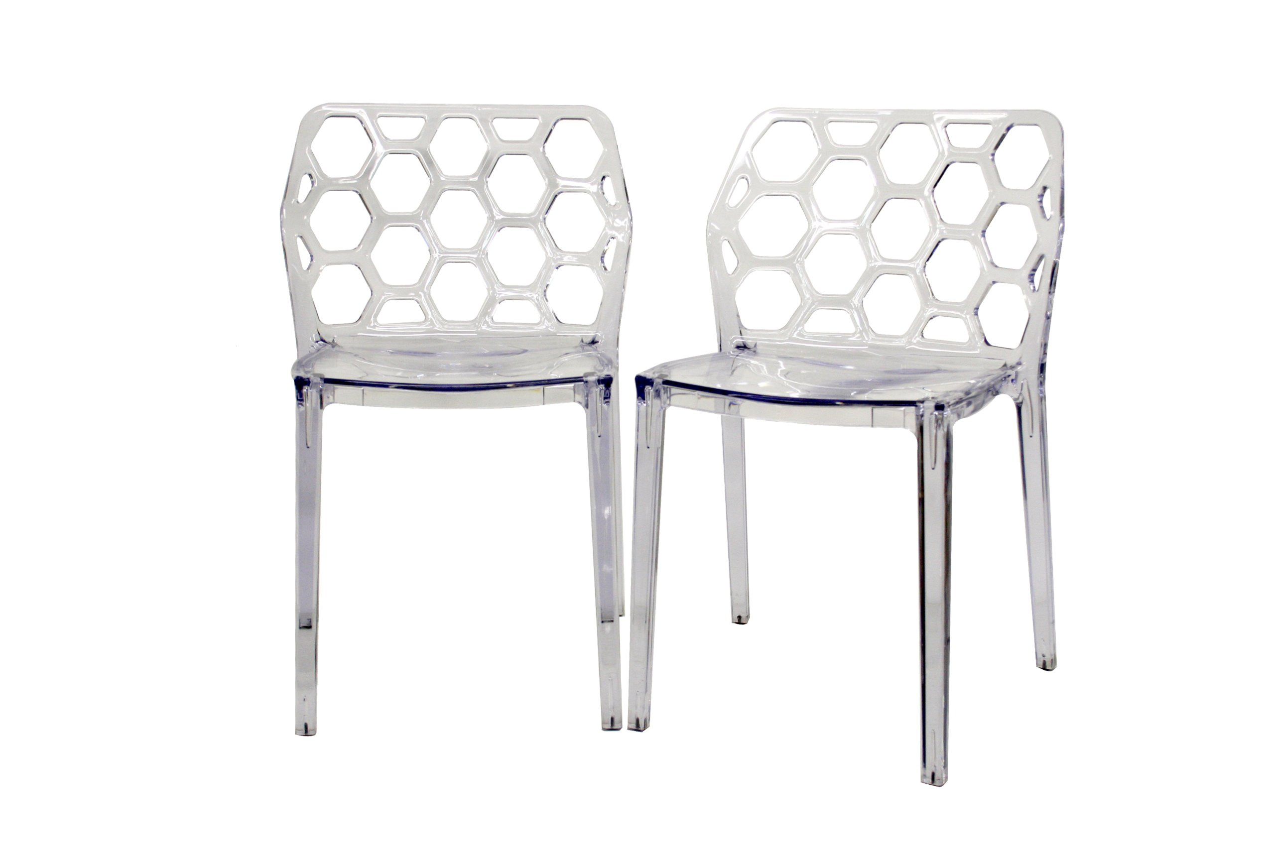 Lucite Chair Baxton Studio Honeycomb Acrylic Modern Dining Chair Set Of 2 Clear Furniturendecor