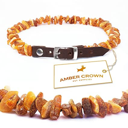 Amber Crown PAC-SGD1 Flea and Tick Control Collar with Adjustable Leather Strap for Dogs and Cats