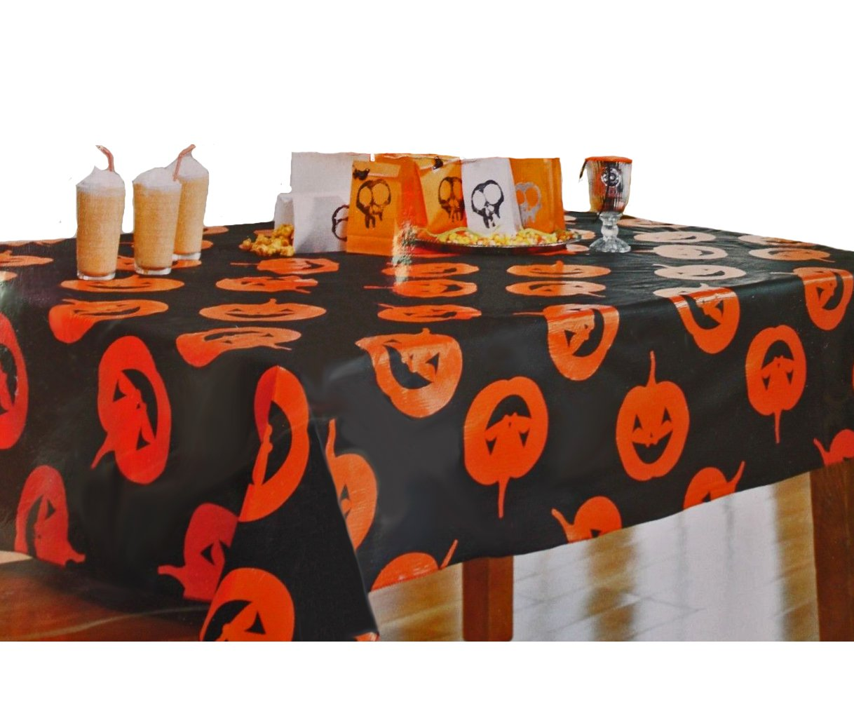 Halloween Tablecloth Vinyl Pumpkin Party 70 Round - Black
