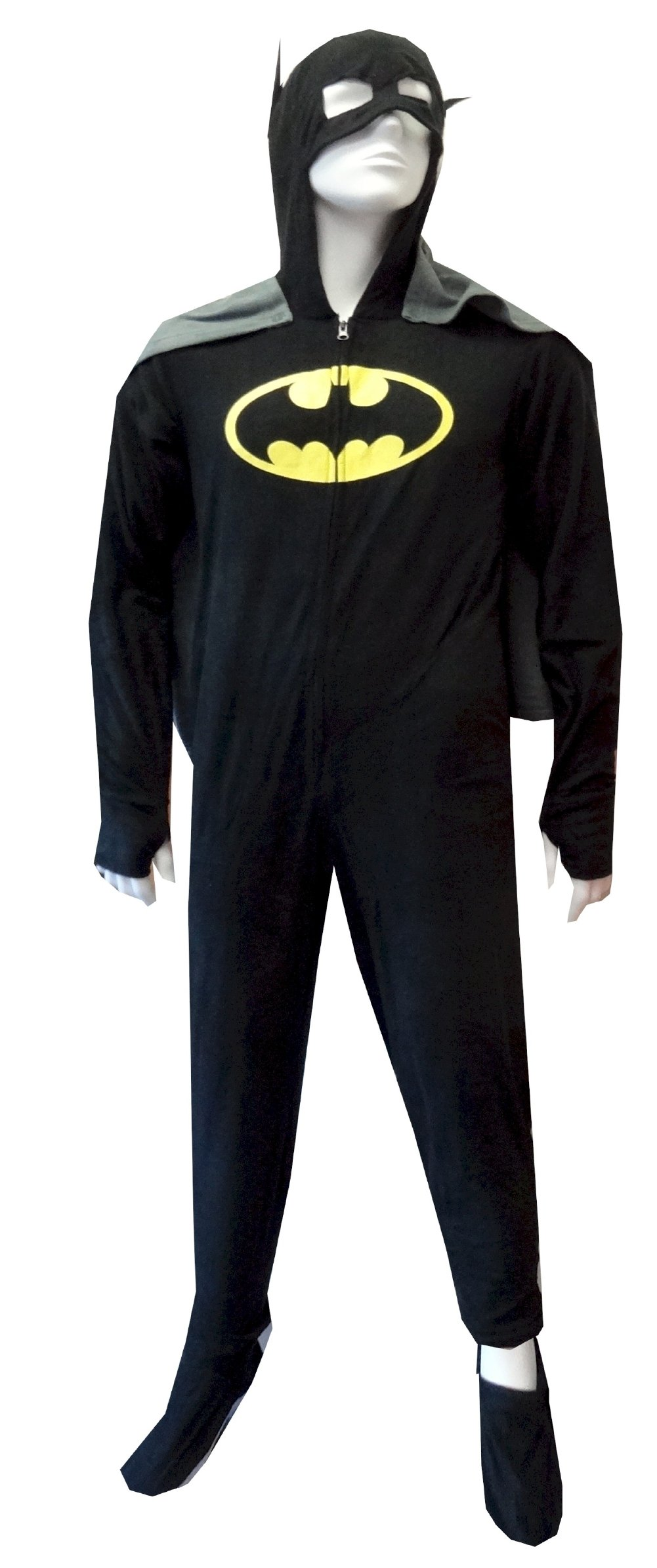 Batman/BatGirl Hooded Fleece One Piece Footie Pajama with Cape for men