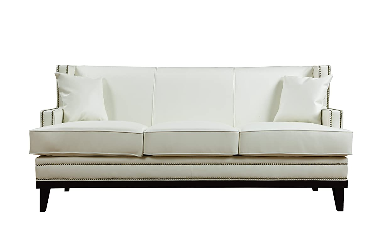 white leather sofa with nailheads grey fabric 2 seater recliner modern bonded nailhead trim detail