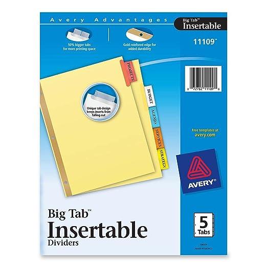 Avery Big Tab Insertable Dividers, 5-Tab Set (11109)