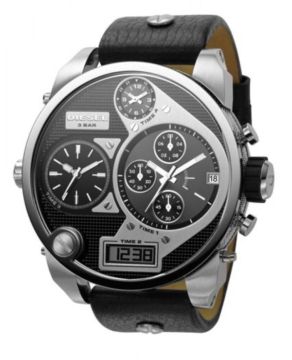 Men' Watches - Diesel Black Sba Oversized Ana-digi And Silver Dial Watch