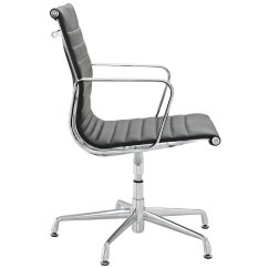 Office Side Chairs Where To Buy Tommy Bahama Beach Chair Lexmod Ribbed Mid Back Conference In Black Genuine Leather