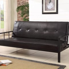 Black Vinyl Futon Sofa Alessandro Leather Power Motion With Heavy Duty Metal Frame Klik Klak