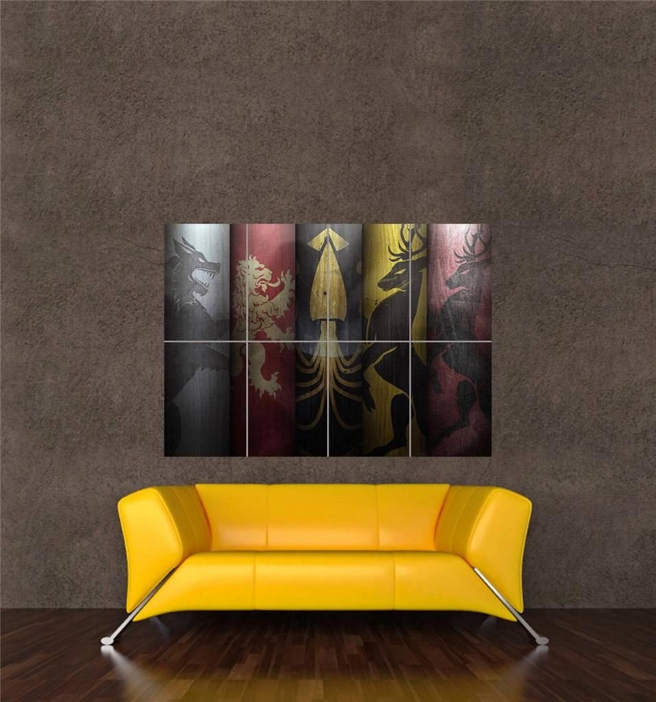 GAME OF THRONES HOUSES CREST SHIELDS NEW GIANT WALL ART PRINT