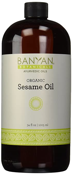 Banyan Botanicals Sesame Oil, Certified Organic, 34 oz - Pure, Unrefined - The Most Traditional of All Oils Used in Ayurveda, Good for Vata and Kapha