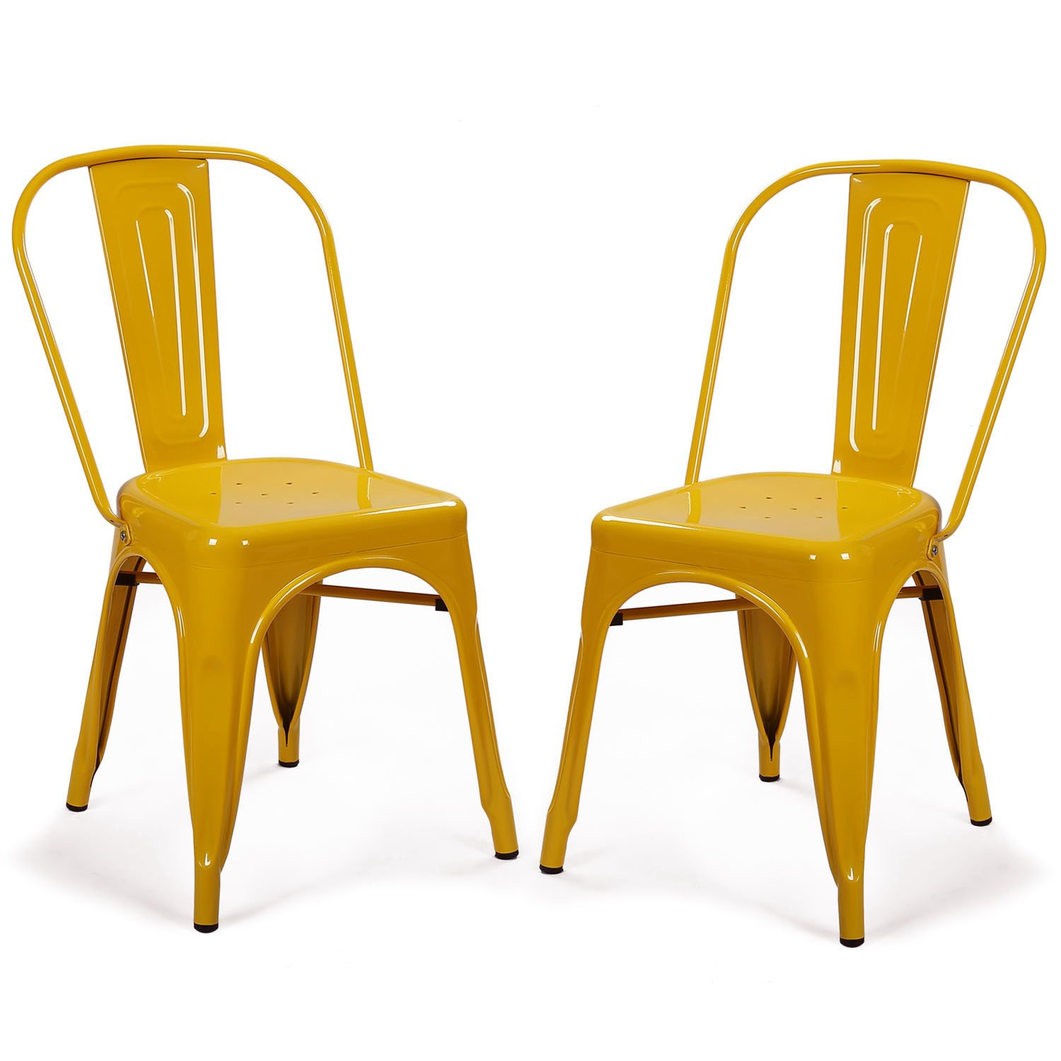 Yellow Metal Chairs Adeco Metal Stackable Industrial Chic Dining Bistro Cafe