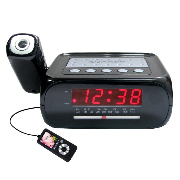 Supersonic Projector Projection Alarm Clock Radio With Aux Input Jack Sc-371 639131003712