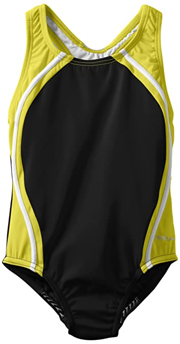 Speedo Big Girls'  Sport Splice One-Piece Swimsuit, Citrine, 10