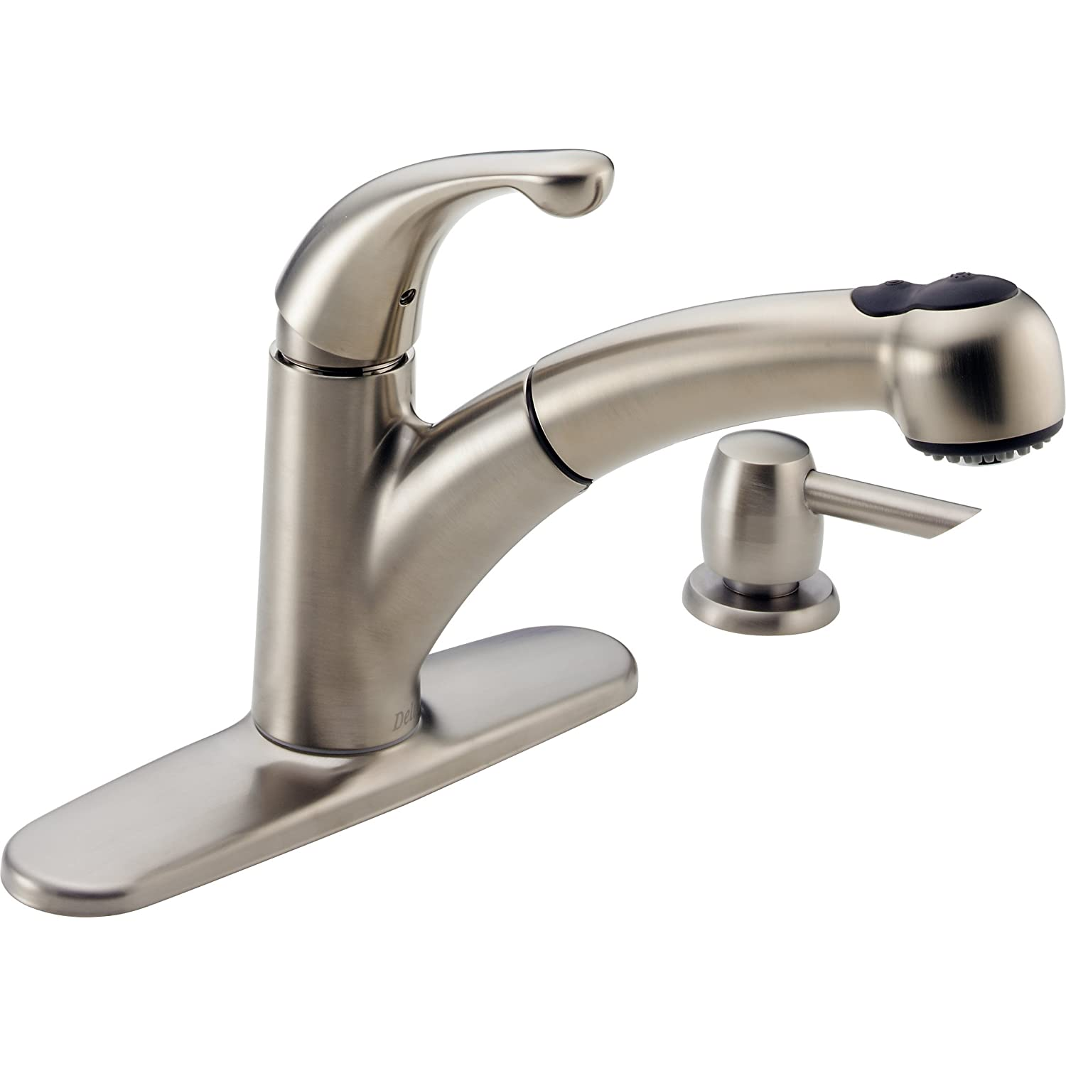 single handle pullout kitchen faucet restaurant doors delta 467 sssd dst palo pull out