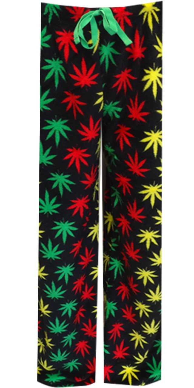 Rasta Themed Ganja Leaf Cozy Plush Loungepants for men