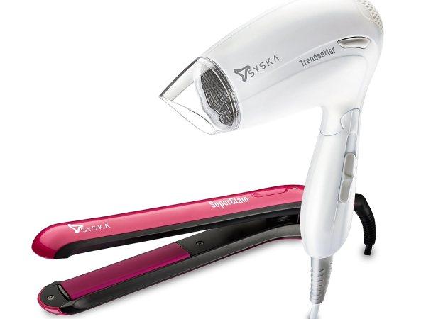 Syska Superglam HS 6811 Hair Straightener and Trendsetter HD 1605 Hair Dryer (Multicolor)