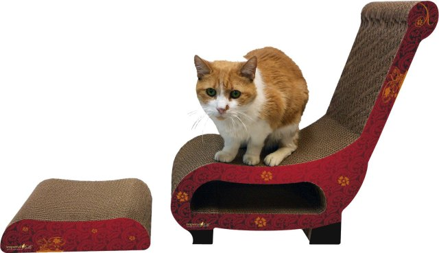 Cat Club Chair Scratch 'N Shape Scratch Pads, Modern Red