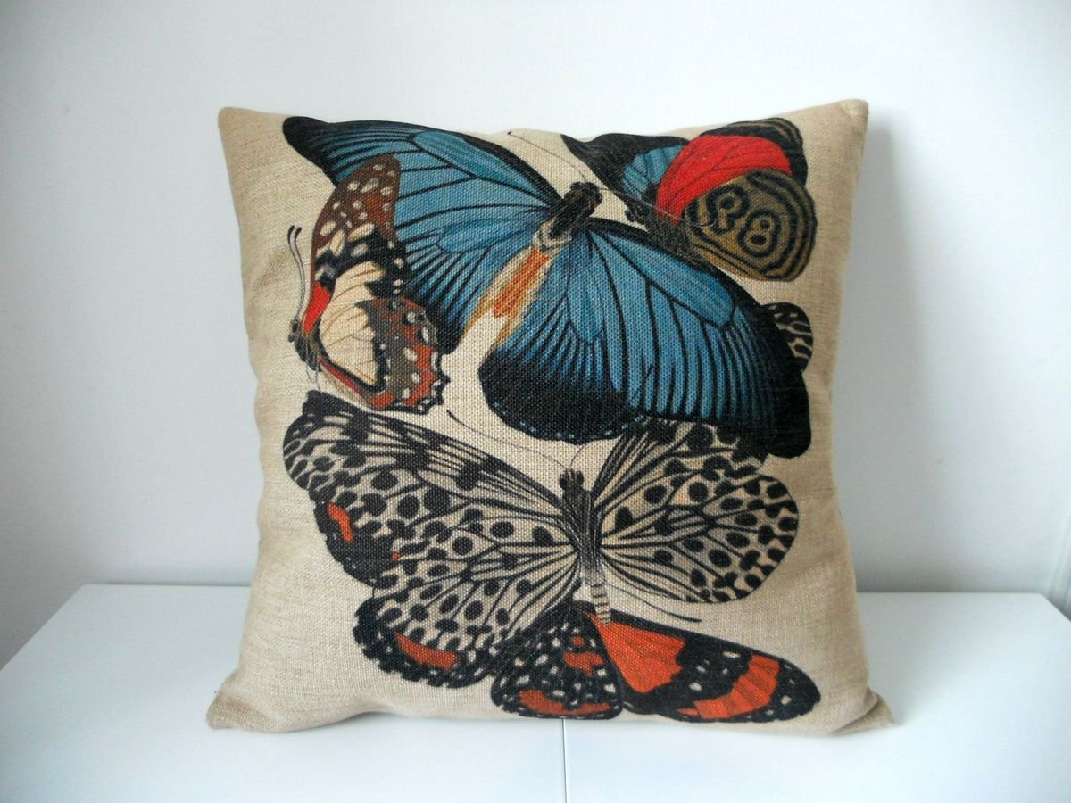 "Cotton Linen Square Decorative Throw Pillow Case Cushion Cover Butterfly 18 ""X18 """
