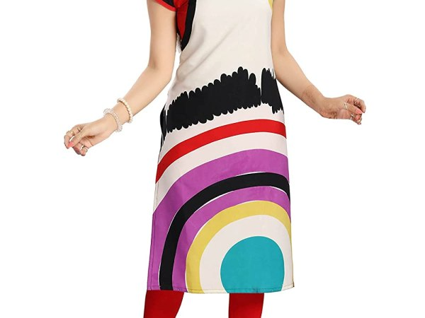 Dragaon-The Off White Poly Crepe Designer Printed Long Tunic