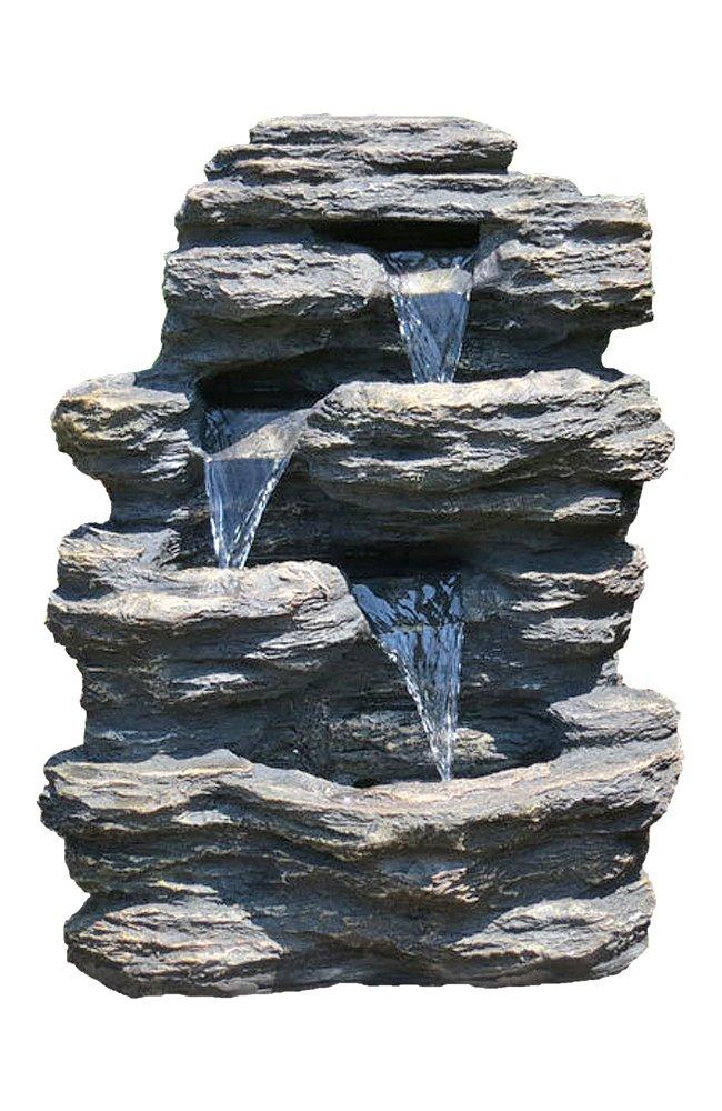 24 Rock Waterfall Garden Fountain w LED Lights Perfect