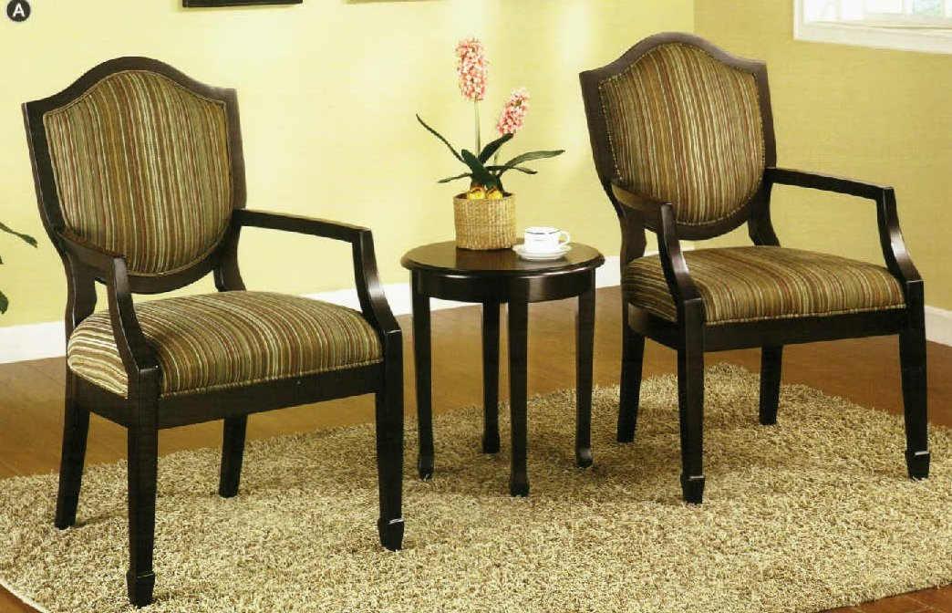 3 Pc Set of 2 Accent Chairs Table  FurnitureNdecorcom