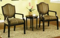 3 Pc. Set of 2 Accent Chairs Table