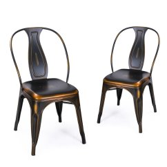 Black Metal And Wood Dining Chairs Learning Chair Fisher Price Adeco Stacking Vintage Barstool