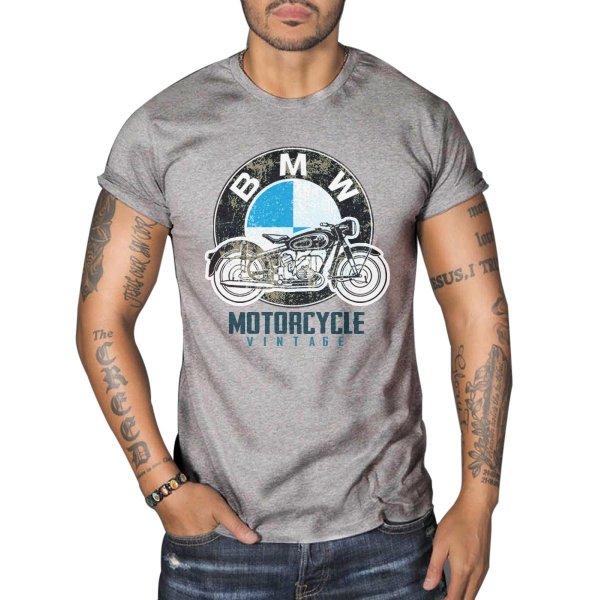 Bmw R50 Vintage Motorcycle Biker Mens Top Dry Grey T-shirt