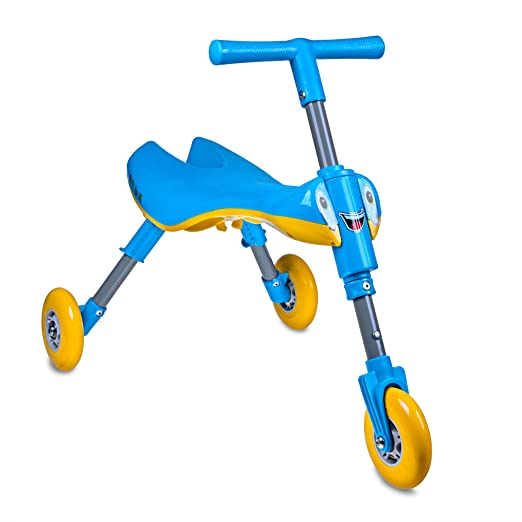 TriBike Toddlers' Foldable Indoor-Outdoor Glide Tricycle Ride On - No Assembly Required - Easy To Store (Blue/Yellow)